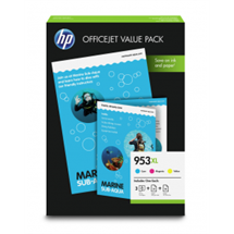 Value pack! HP 953XL C/M/Y blækpatron 3 stk. original + HP AIO 50 stk./HP Mat Pro 25 stk. A4 papir HP - Hewlett Packard
