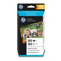 Valuepack! HP 303 BK/CMY blækpatron 8ml original + 40 stk fotopapir 10x15 HP - Hewlett Packard