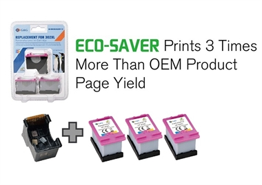 HP 302XL 3-PACK G&G ECO-SAVER COLOR: Printhoved + 3 stk. Color Refill blækpatroner a. 17ml. (51ml.) ca. 1.500 sider - Erstatter 3 x HP 302XL HP F6U67AE