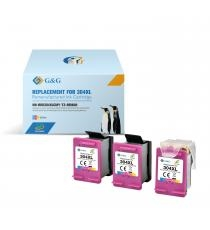 HP 304XL 3-PACK G&G ECO-SAVER COLOR: Printhoved + 3 stk. COLOR Refill blækpatroner a. 17ml. (51ml.) ca. 1.500 sider