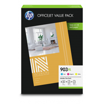 Value pack! HP 903XL C/M/Y blækpatron 3 stk. original + HP AIO 50 stk./HP Mat Pro 25 stk. A4 papir HP - Hewlett Packard