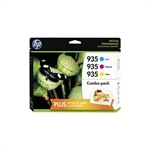 HP 935XL Multi-Pack C+M+Y blækpatroner Høj Kapacitet 28ml. ORIGINALE + fotopapir F6U78AE